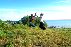With my sister in mid-air